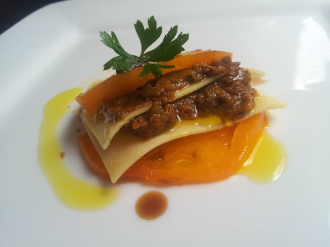 Yellow tomato and eggplant caponata lasagna salad