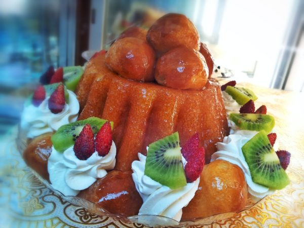 Traditional Italian rum baba