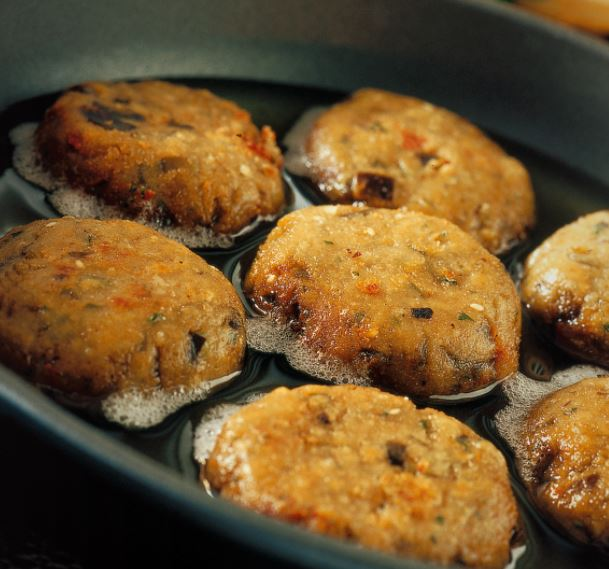 Mini eggplant and herb burgers